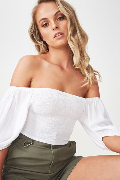 Shirred Blouson Sleeve Top, WHITE