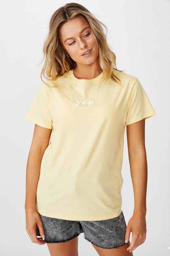 Lola Printed Longline Tee, LEMON WHIP/YEP