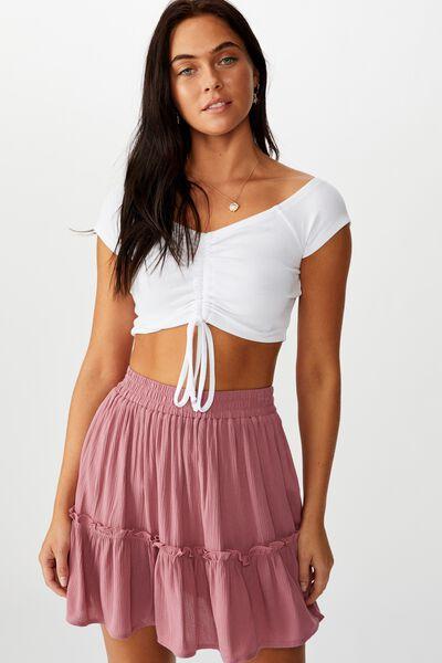Kaiya Frill Hem Skirt, PINK ROUGE