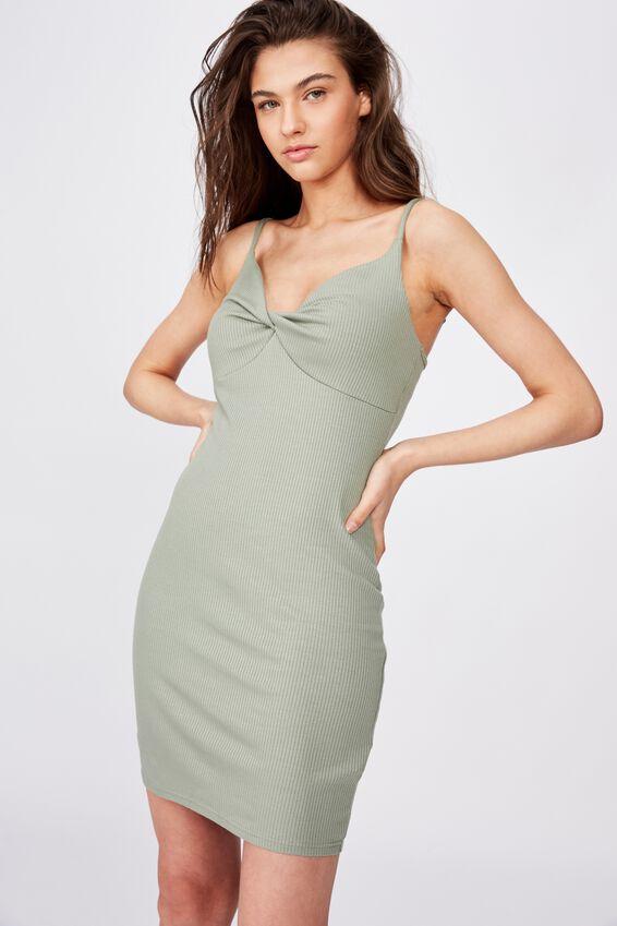 Mary Twist Rib Mini Dress, FERN KHAKI