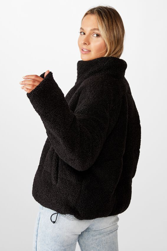 Teddy Puffer Jacket, BLACK