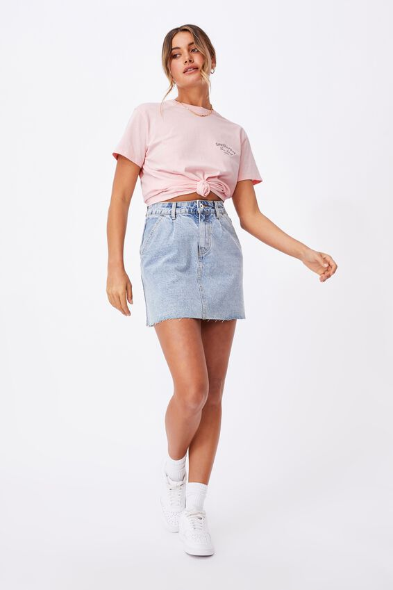 Lola Printed Longline T Shirt, CHALK PINK/SOUTHCREST 1994