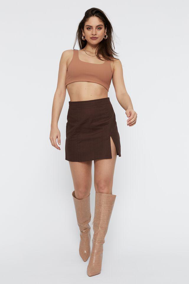 Harlow Woven Mini Skirt, BRUNETTE