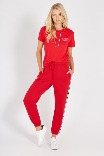Basic Side Stripe Sweat Pant, RED