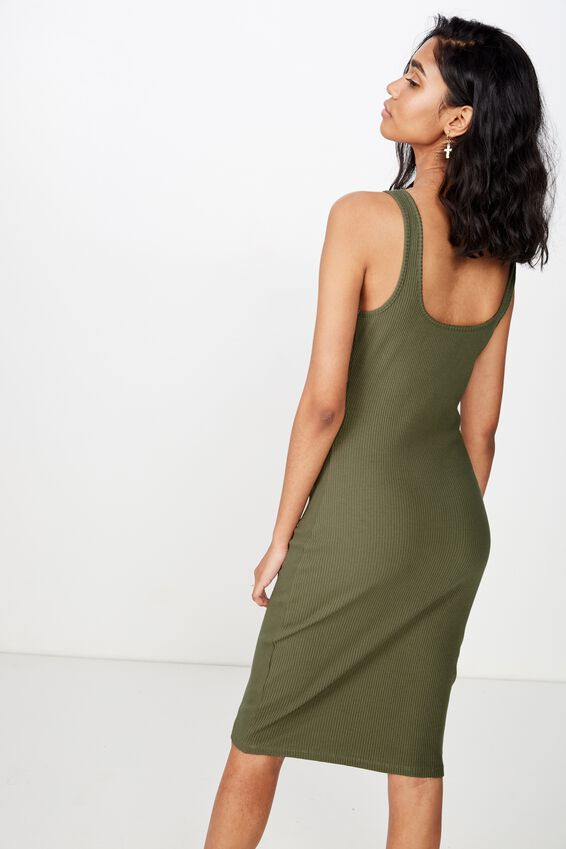 Edie Notch Rib Midi Dress, OLIVE KHAKI