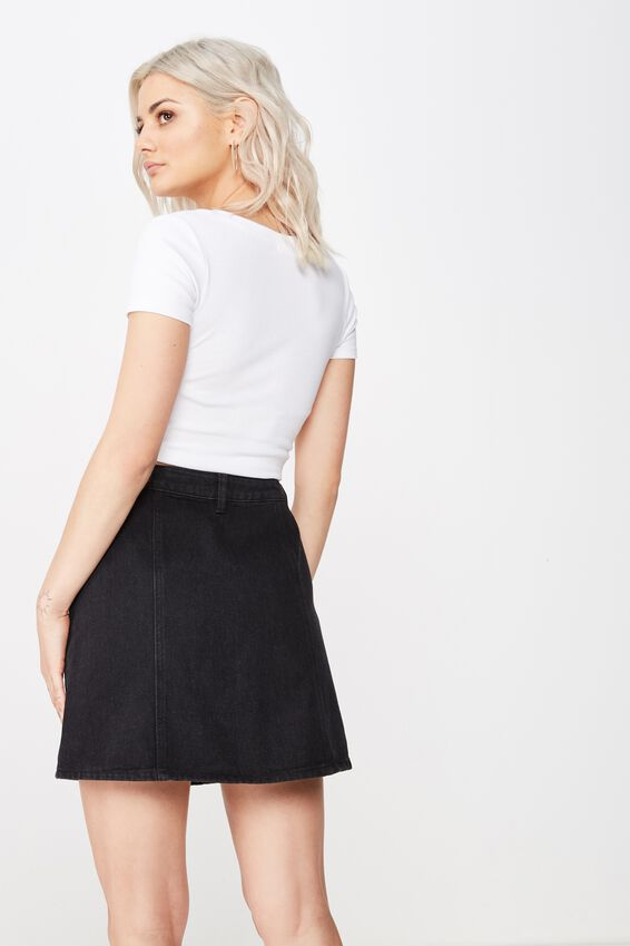 Ashley Button Through Denim Skirt, WASHED BLACK