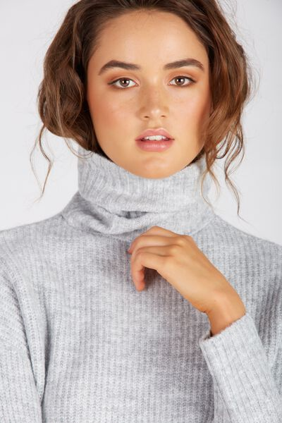 Ruby Cosy Roll Neck Sweater, COSY SILVER