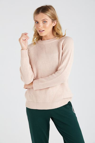 Lucy Crew Knit Sweater, PALE BLUSH