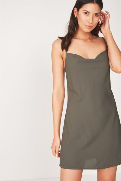 Cowl Neck Mini Dress, KHAKI