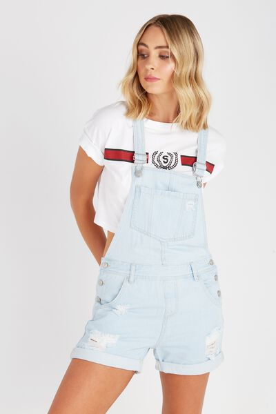 Relaxed Destroyed Denim Dungaree, CLOUD BLUE
