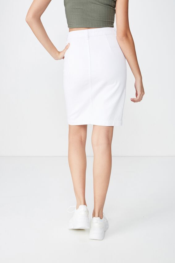 Courtney Button Denim Midi Skirt, WHITE