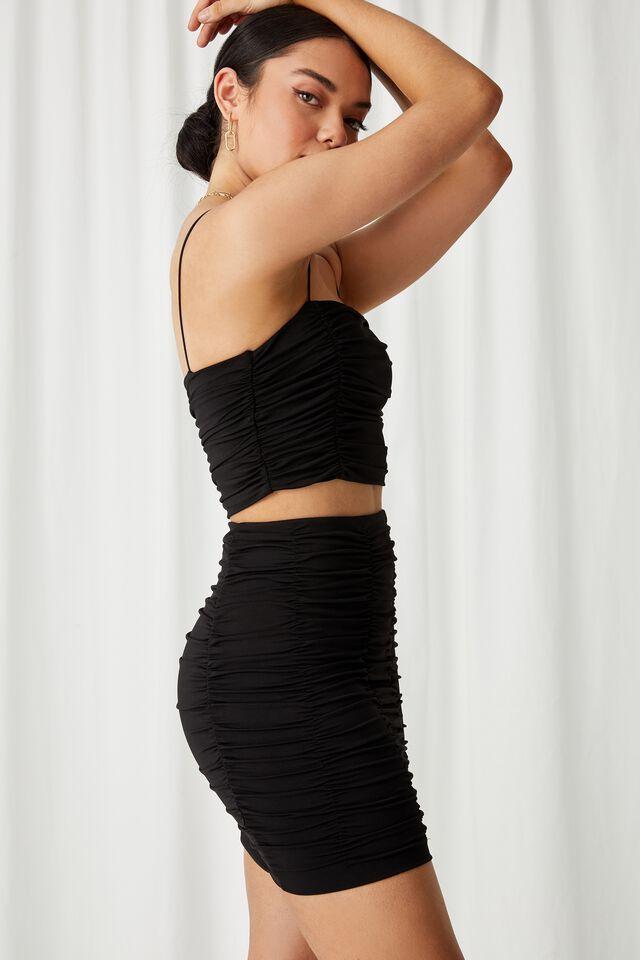 Shani Gathered Mini Skirt Co Ord, BLACK