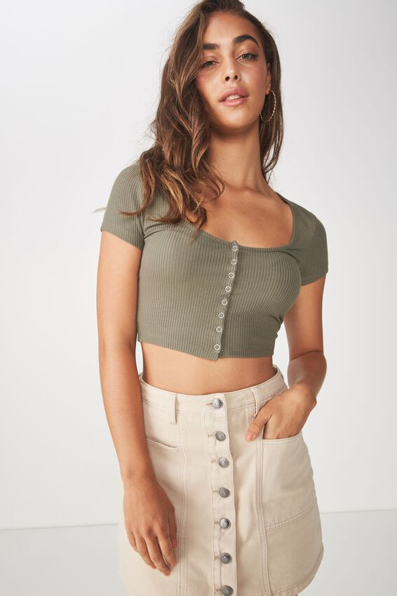 Snap Button Fitted Crop Tee, GUM LEAF KHAKI