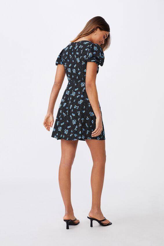 Iris Gathered Sleeve Tea Dress, HOLLY FLORAL BLACK