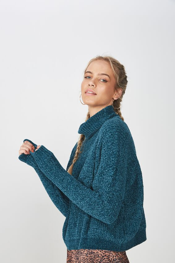 Tully Long Sleeve Chunky Knit, JEWEL TEAL