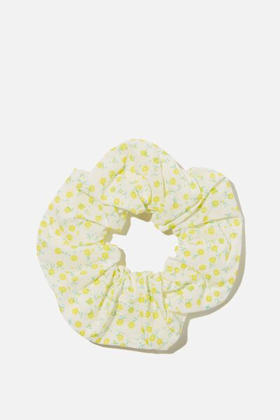 Floral Fields Scrunchie, WHITE/YELLOW FLORAL