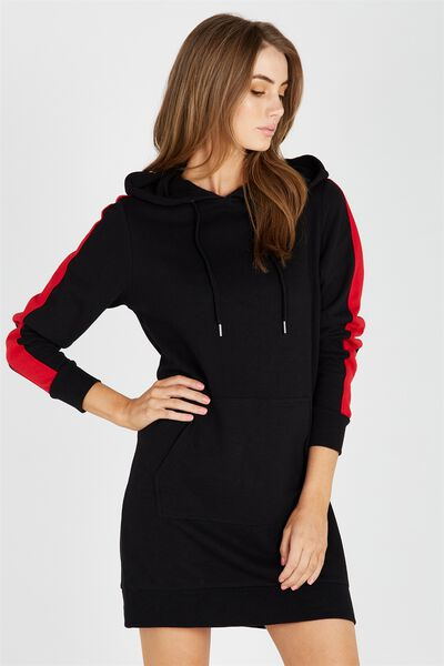 Stripe Sleeve Hoodie Dress, BLACK/RED