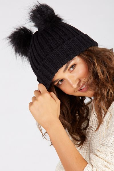 Furry Ears Beanie, BLACK