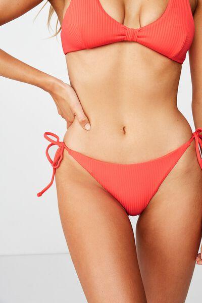 Bells Tie Side Bikini Bottom, SCARLET RED RIB