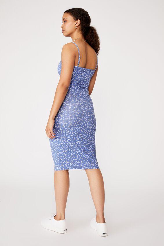 Georgia V Neck Midi Dress, MIMI FLORAL IRIS BLUE