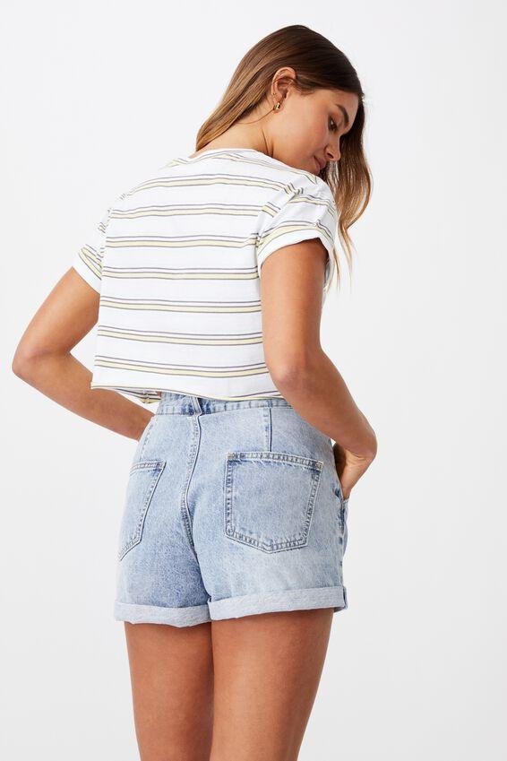 Ciara Crop T-Shirt, WINNIE STRIPE WHT/MLLW YLLW/BLCH AQUA/CMNT GR