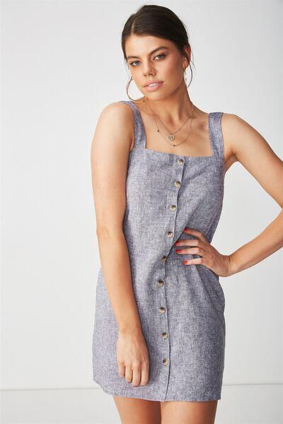Penny Button Through Linen Dress, GREY
