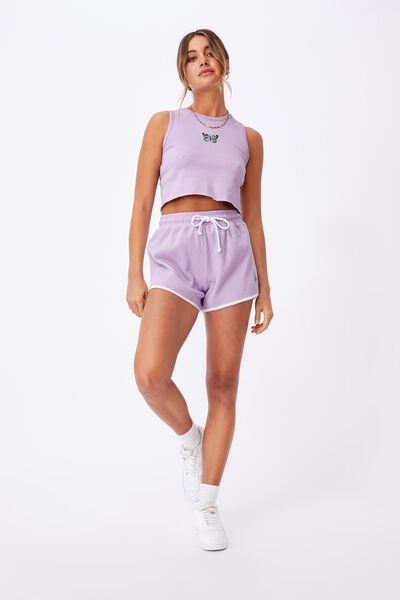 Suzey Printed Crop Tank, SWEET LILAC/BUTTERFLY