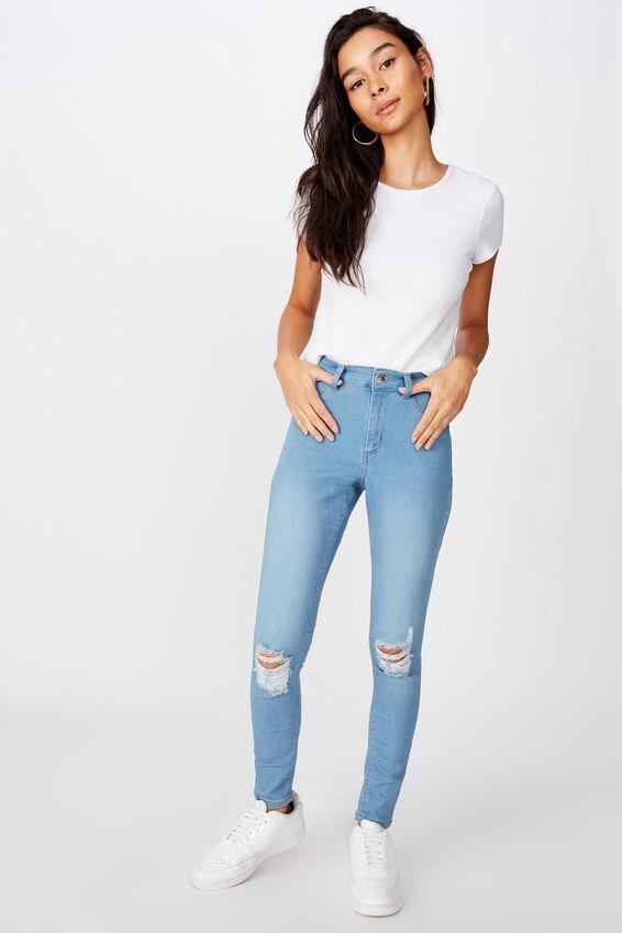 Long Leg Super Skinny Ripped Jean, WAVE BLUE