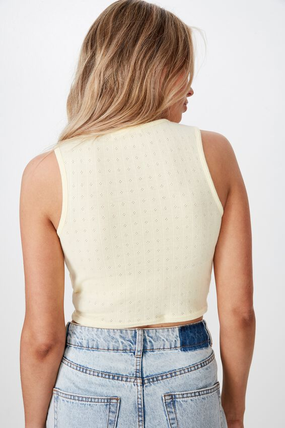 Hope Pointelle Crop Tank, LIMONCELLO