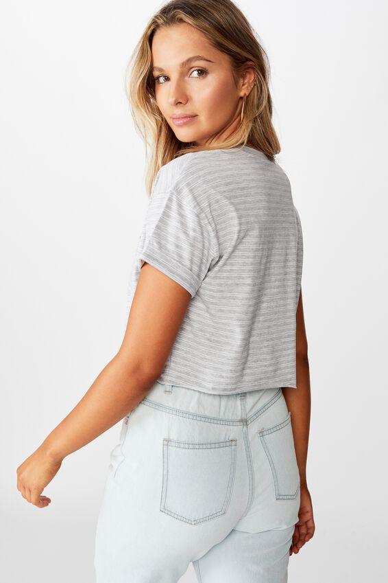 Ciara Crop T-Shirt, SMALL DOUBLE STRIPE  GRY MRL WHT