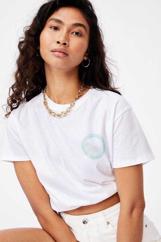 Lola Printed Longline T Shirt, WHITE/CLEAN OCEANS