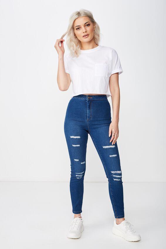 Short Super Skinny Sky High Ripped Jean, MOON BLUE