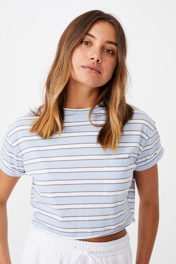 Ciara Crop T-Shirt, MOLLY STRIPE  BL PTL/WHT/CMNT GRY