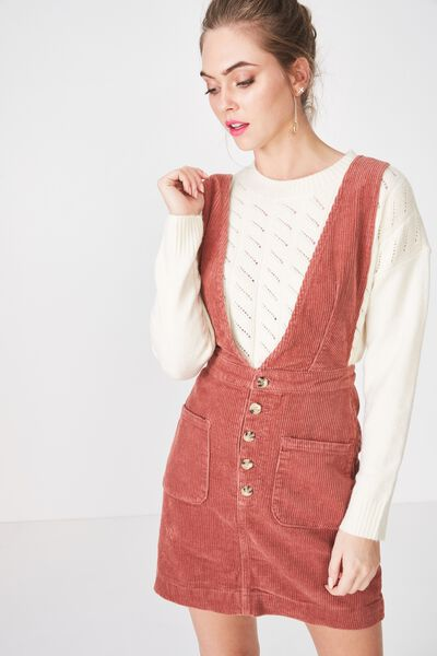 The Strappy Cord Pinafore, TERRACOTTA