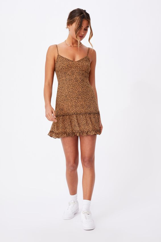 Chloe Tiered Mini Dress, MINI GIGI LEOPARD BROWN