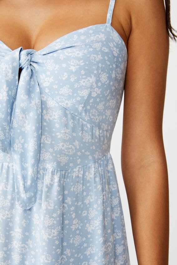 Ava Tie Knot Dress, WALL PAPER MONO FLORAL BLUE