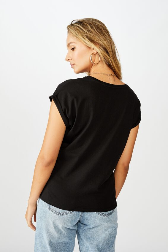 Kaya Crew Neck Tee, BLACK