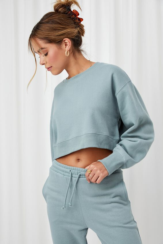 Louisa Cropped Jumper, WILLOW GREEN