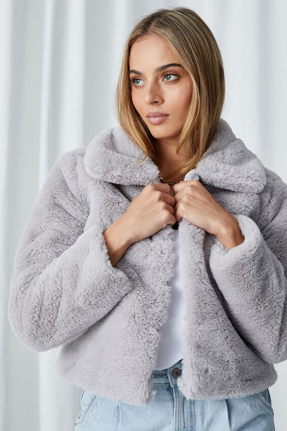 Florence Faux Fur Crop Jacket, SILVER GREY