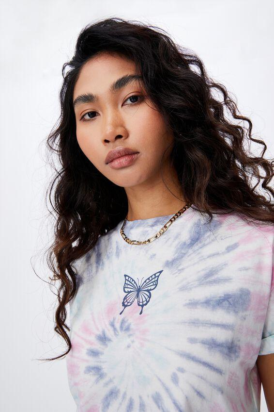 Butterfly Tie Dye Crop T Shirt, SWIRL TIE DYE (PRSM PLM/PCCK BL/PL BL)/BUTTER