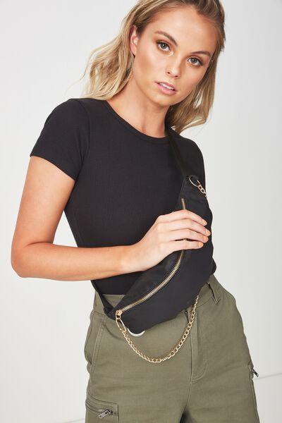 Chain Bum Bag, BLACK