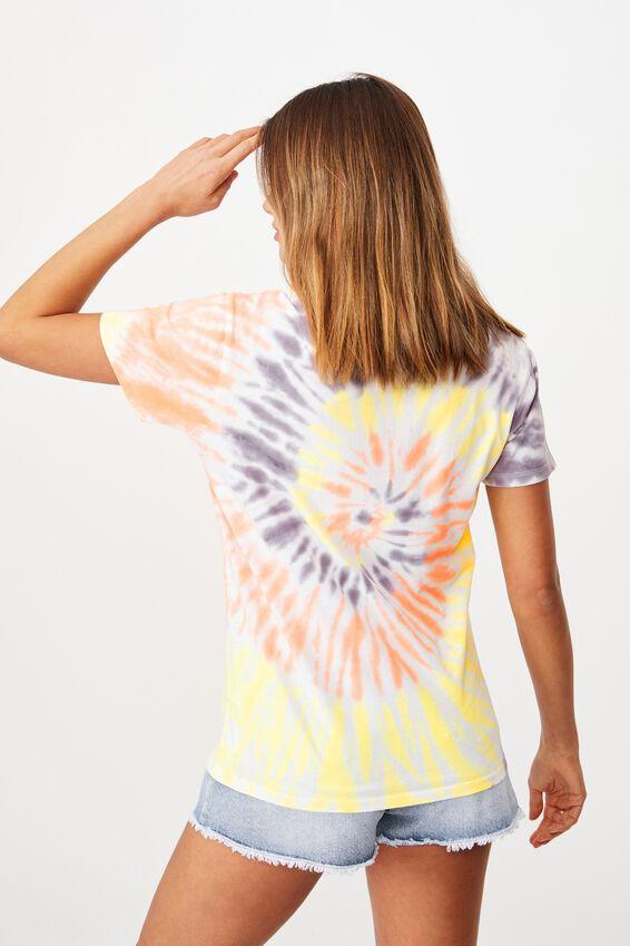 Lola Printed Longline T Shirt, CIRCLE TIE DYE/MALIBU