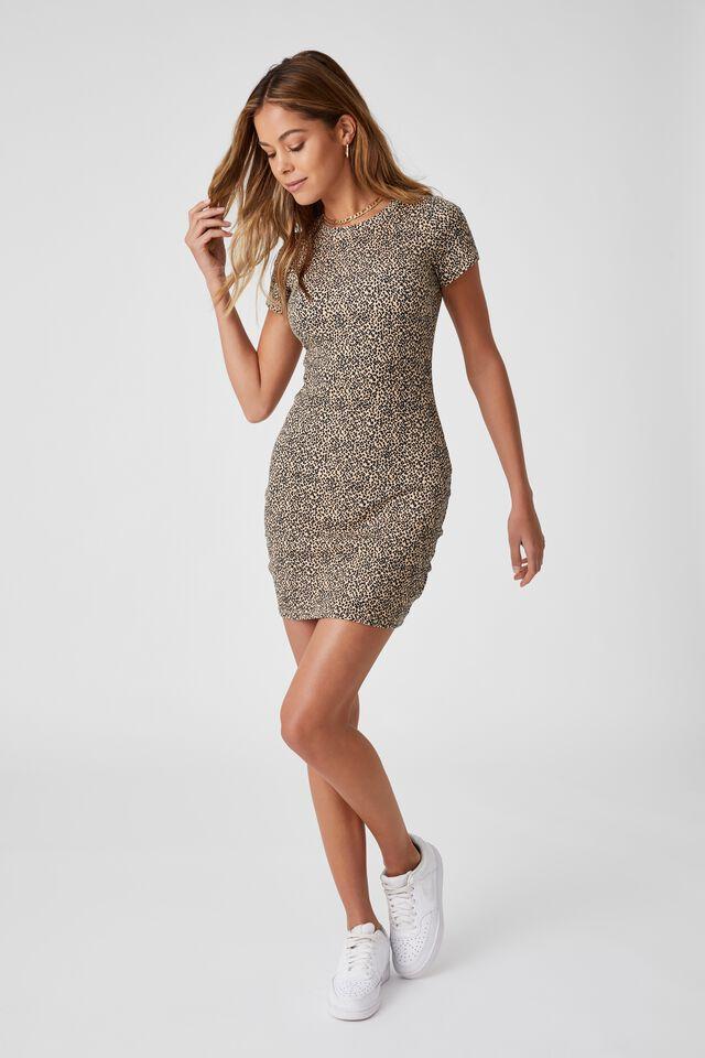 Lucia Rib Tee Mini Dress, ISLA LEOPARD BISCUIT BLACK