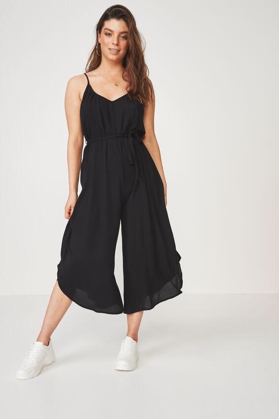 Belted Wide Leg Jumpsuit, BLACK