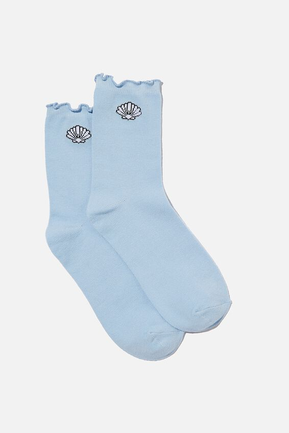Frilled Edge Socks, BLUE PETAL/SHELL