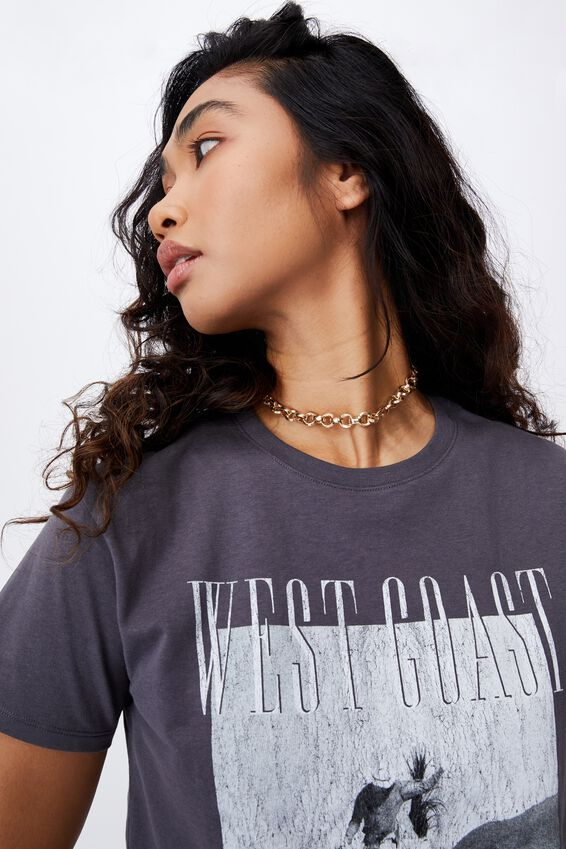 Lola Printed Longline T Shirt, JET GREY/WEST COAST