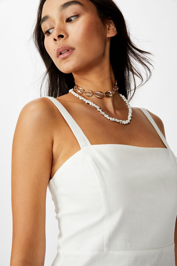 Bianca Wide Strap Cami Dress, WHITE