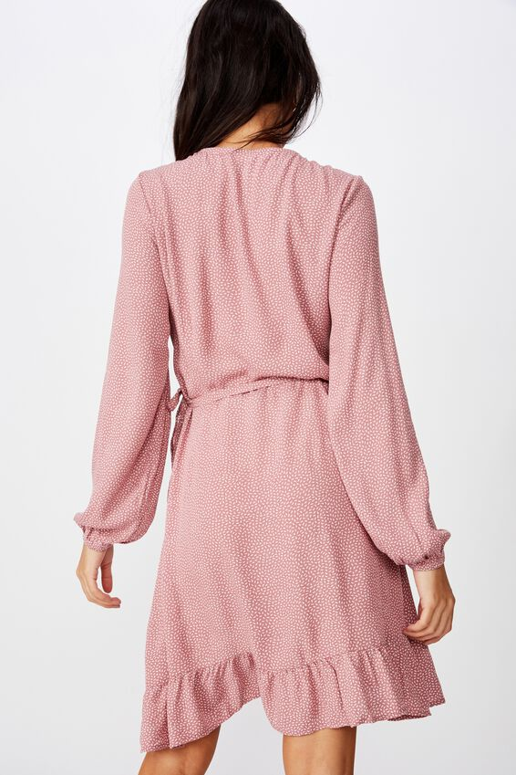 Drew Long Sleeve Wrap Dress, PINK RICE SPOT