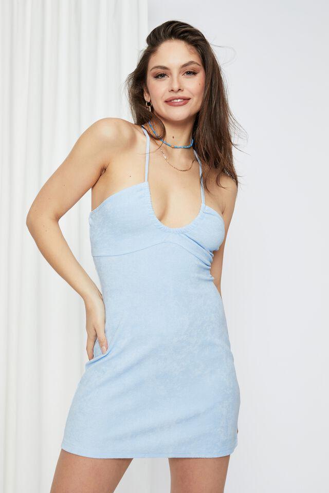Zanya Terry Towelling Dress, HORIZON BLUE