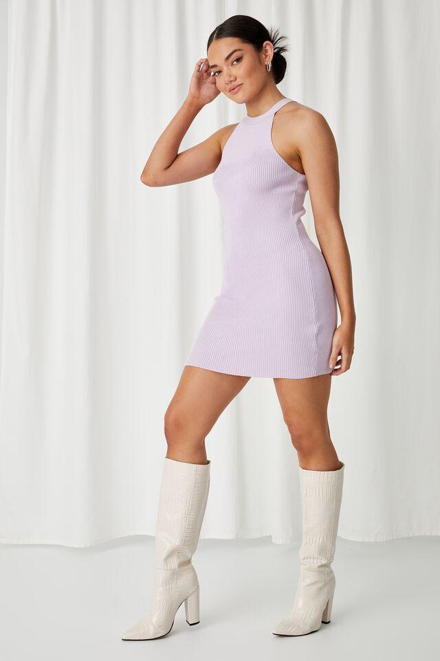 Helena Knit Mini Dress, MUSKY LILAC